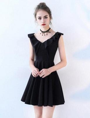 Unique Sleeveless A-Line Straps V-Neck Short Prom Homecoming Dress UK_1