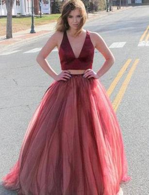 Crop Top A-Line Bowknot V-Neck Tulle Long Prom Dress UK UK_1