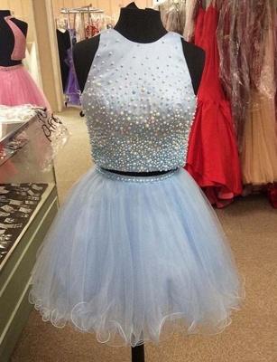 Two Piece A-Line Beading Jewel Tulle Sleeveless Mini Prom Dress UK UK_1