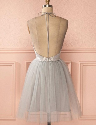 Gorgeous Halter Tulle A-Line Appliques Open Back Homecoming Dress UK_3