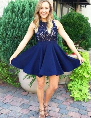 Glamourous Lace A-Line Sleeveless Jewel Short Prom Homecoming Dress UK_1