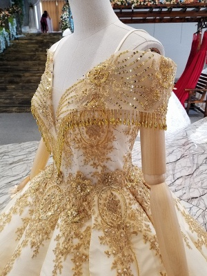 Sequins Spaghetti Straps Beads Sweep Train Ball Gown Prom Dress UK UK_5