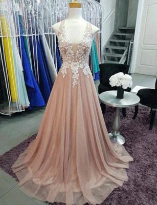 Charming A-Line Sleeveless V-Neck Appliques Sweep Train Prom Dress UK UK_1