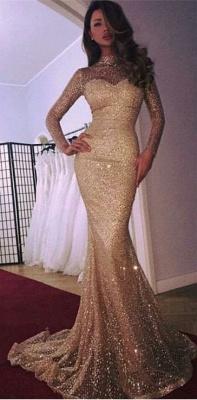 trumpt High Neck Long Sleeves Sequins Court Train Evening Dress UKes UK_4