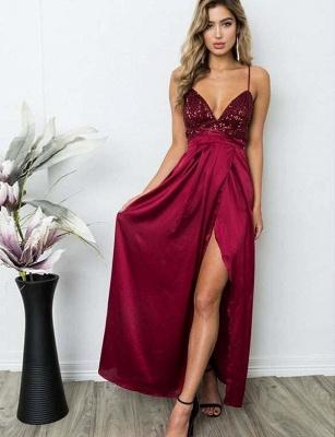 Elegant A-Line Spaghetti Straps V-Neck Sequins Burgundy Prom Dress UK UK_4