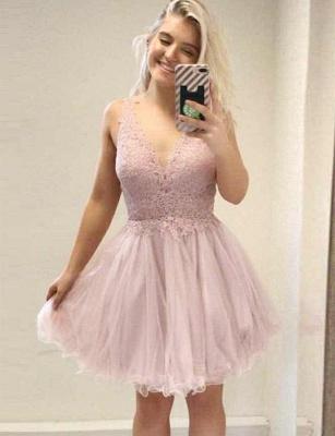 Trendy A-Line Appliques Sleeveless V-Neck Mini length Homecoming Dress UK_1