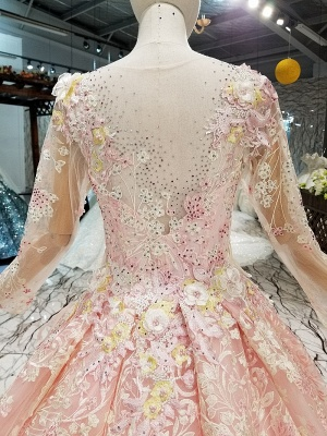 Organza Round Neck Long Sleeves Applique A-Line Court Train Prom Dress UK UK_6