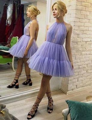 Different Sleeveless A-Line Halter Tulle Short length Prom Dress UK UK_1