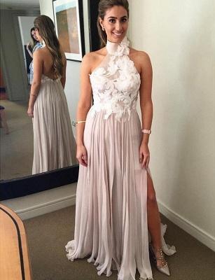Different A-Line Split Front High Neck Appliques Sleeveless Long Prom Dress UK UK_1