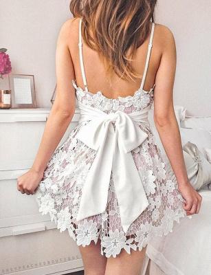 Homecoming Modern Lace Spaghetti Straps Bowknot Mini A-Line Prom Dress UK UK_3