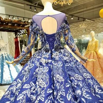 Sweep Train Long Sleeves Applique Ball Gown Long Prom Dress UK UK_7