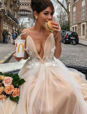 Amazing V-Neck A-Line Appliques Spaghetti Straps Long Prom Dress UK UK_3