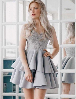 Stunning A-Line Appliques Spaghetti Straps Mini length Homecoming Dress UK_1