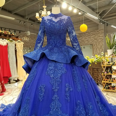 Long Sleeves Ball Gown Applique Tulle Beads Court Train Prom Dress UK UK_7