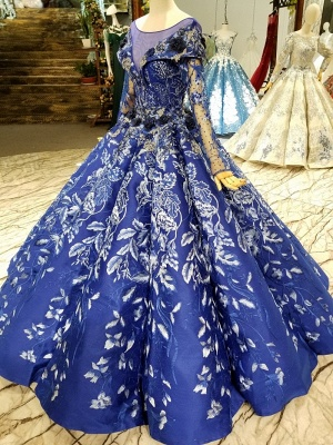Sweep Train Long Sleeves Applique Ball Gown Long Prom Dress UK UK_4