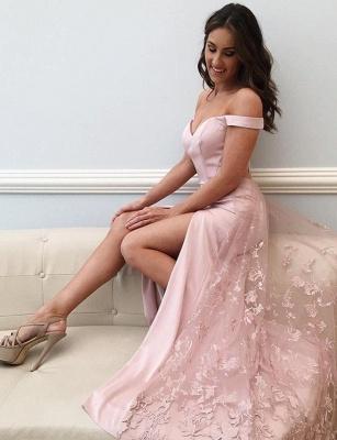 Luxury Lace Off-The-Shoulder Split Front A-Line Pink Tulle Prom Dress UK UK_1