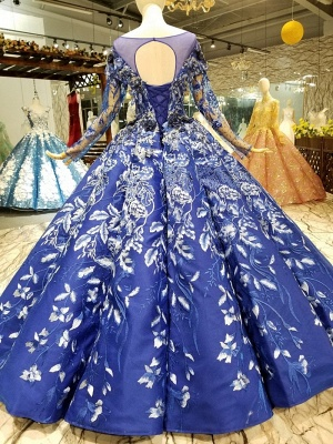 Sweep Train Long Sleeves Applique Ball Gown Long Prom Dress UK UK_3