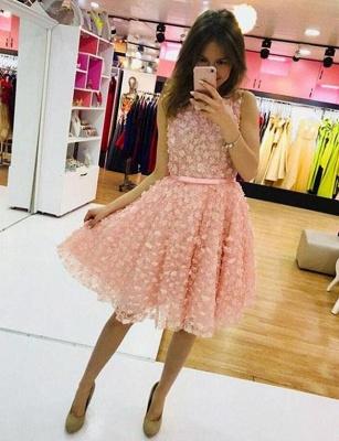 Simple A-Line Appliques Jewel Sleeveless Mini length Homecoming Dress UK_1