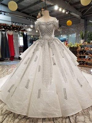 Organza Applique Ball Gown Chapel Train Short Sleeves Prom Dress UK UK_3