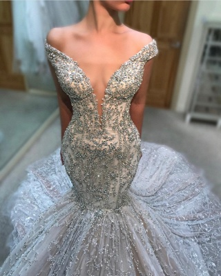 Fashion Off-the-Shoulder Tulle Beads Sexy Mermaid Court Train Wedding Dress_1