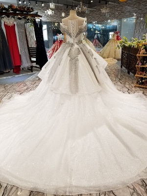 Organza Applique Ball Gown Chapel Train Short Sleeves Prom Dress UK UK_4