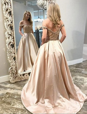 Luxury A-Line Beading Off-the-Shoulder Pocket Long Prom Dress UK UK_3
