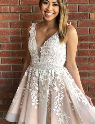 Luxury Sleeveless A-Line Appliques V-Neck Short length Prom Dress UK UK_1
