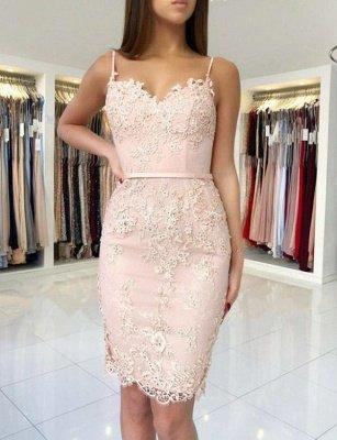 Trendy Column Appliques Spaghetti Straps Cute Sweetheart Prom Dress UK UK_1