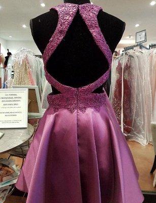 Sexy A-Line Appliques Jewel Lace Sleeveless Mini length Homecoming Dress UK_3