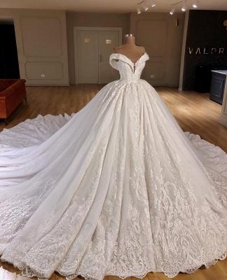 Applique Off-the-Shoulder Ball Gown  Wedding Dresses UK_1