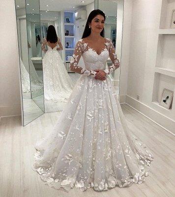 V-Neck Applique Long Sleeves A-Line Tulle Court Train Wedding Dresses UK_1