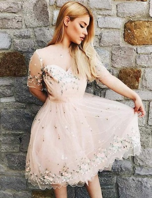 Stunning A-Line Appliques Short Sleeves Bateau Knee-Length Prom Dress UK UK_3