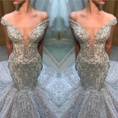Fashion Off-the-Shoulder Tulle Beads Sexy Mermaid Court Train Wedding Dress_3