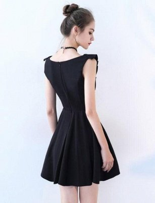 Unique Sleeveless A-Line Straps V-Neck Short Prom Homecoming Dress UK_3