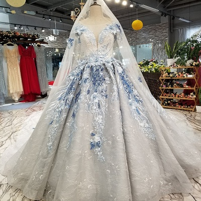 Round Neck Organza Applique Ball Gown Short Sleeves Prom Dress UK UK_1