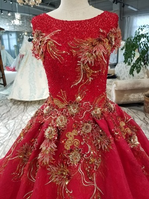 Beads Applique Round Neck Short Sleeves A-Line Court Train Prom Dress UK UK_7