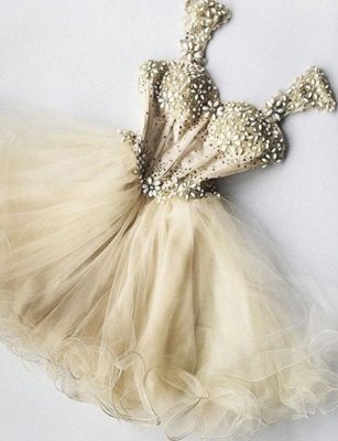 Stunning Straps A-Line Beads Tulle Short Prom Homecoming Dress UK_1
