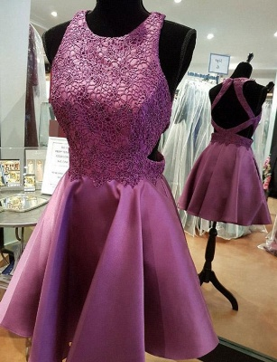 Sexy A-Line Appliques Jewel Lace Sleeveless Mini length Homecoming Dress UK_1