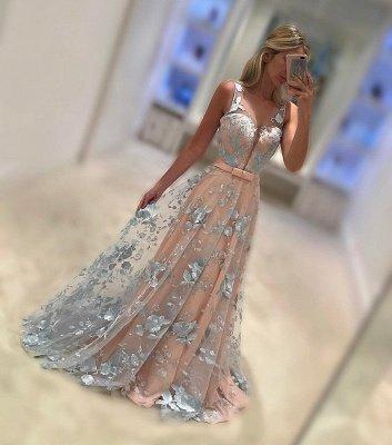 Sleeveless Elegant V-Neck Sash Applique Chiffon Sweep Train Elegant Evening Dress UKes UK_1