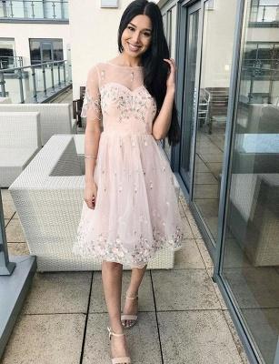 Stunning A-Line Appliques Short Sleeves Bateau Knee-Length Prom Dress UK UK_1