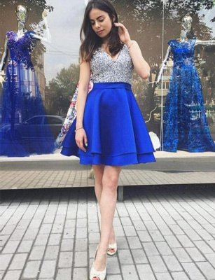 Glamourous Sleeveless A-Line Sequins V-Neck Mini length Homecoming Dress UK_1