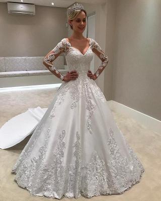 Long Sleeves Satin  V-Neck Applique A-Line Wedding Dresses UK_1