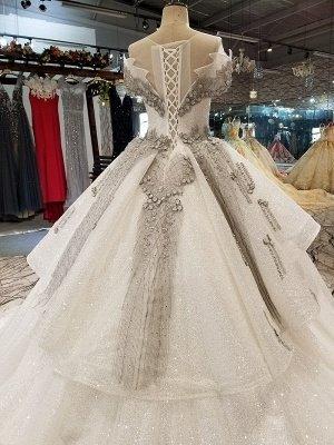 Organza Applique Ball Gown Chapel Train Short Sleeves Prom Dress UK UK_6