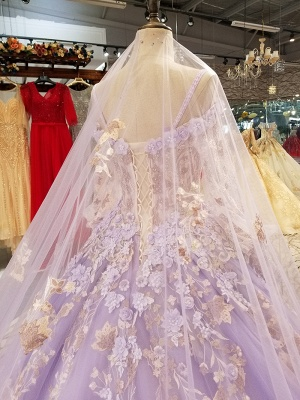 Ball Gown Spaghetti Straps Long Sleeves Court Train Applique Prom Dress UK UK_6