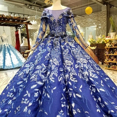 Sweep Train Long Sleeves Applique Ball Gown Long Prom Dress UK UK_1