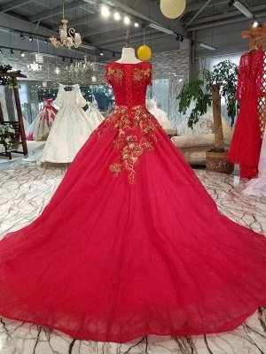 Beads Applique Round Neck Short Sleeves A-Line Court Train Prom Dress UK UK_3