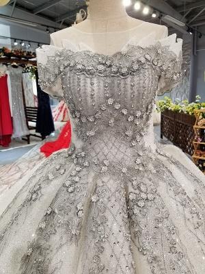 Organza Applique Ball Gown Chapel Train Short Sleeves Prom Dress UK UK_7