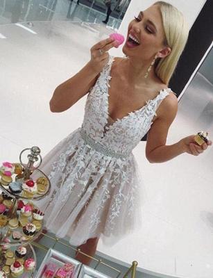 Luxury Sleeveless A-Line Appliques V-Neck Short length Prom Dress UK UK_3