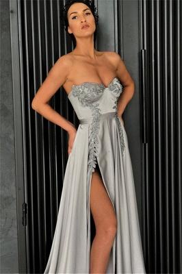 Elegant Sexy A-line Strapless Front-Slipt Prom Dress UK_3