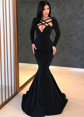 Elegant Hot Long Sleeves Elegant Mermaid Sweep Train Prom Dress UK UK_1